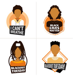 Set african american people against racial vector