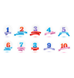 Set anniversary signs with ribbons 123 vector