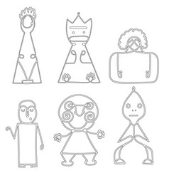 set of dolls abstract human symbols vector image
