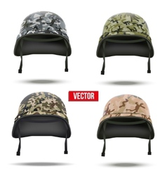Set of Military camouflage helmets vector image