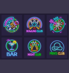 Set of neon signs vector