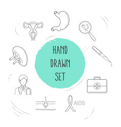 set of organ icons line style symbols with dropper vector image