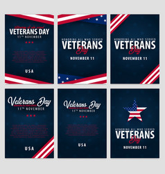 Set of veterans day honoring all who served vector