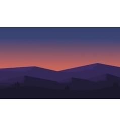 Silhouette of mountain and hill scenery vector