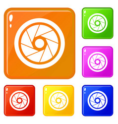 Small objective icons set color vector