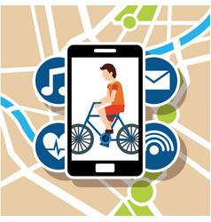 Smartphone navigation app man riding bike vector