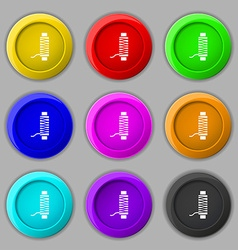 Thread Icon sign symbol on nine round colourful vector image