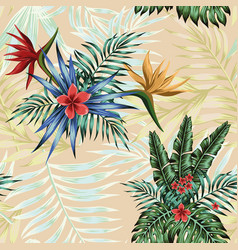 tropical composition flowers leaves seamless vector image