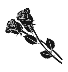 Two roses icon in black style isolated on white vector