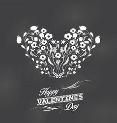 valentine Romantic floral card heart made of vector image