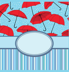 vintage frame with umbrellas and text place vector image