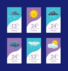 Weather forecast banners set temperature cloudy vector