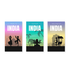 welcome and discover india card templates set with vector image