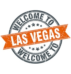 Welcome to Las Vegas orange round ribbon stamp vector