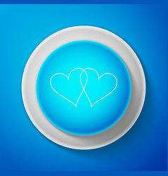 white two linked hearts icon on blue background vector image