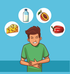 Young with stomach ache vector