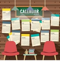 2017 Calendar Starts Sunday Library Concept vector image vector image