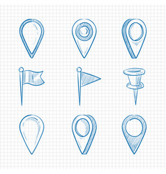Hand drawn doodle navigation pins vector