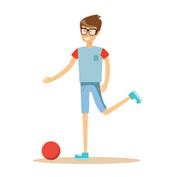 young soccer player kicking a ball vector image
