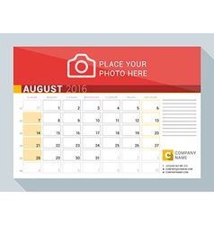 Calendar planner for 2016 year august print vector
