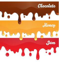 Chocolate honey jam drips on white background vector