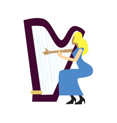 Musician playing harp isolated vector