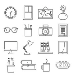 Set flat line office and house items vector