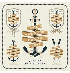 Vintage nautical anchor and ribbon labels set vector image