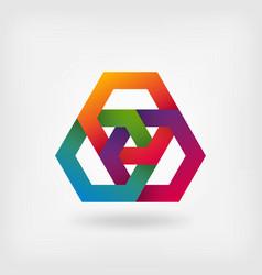 Abstract interlocking hexagons in rainbow colors vector
