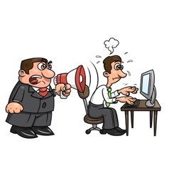 Boss yelling at worker 2 vector image vector image