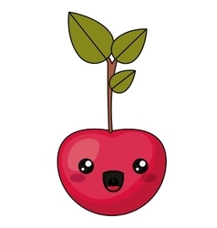 Cherry with kawaii face design vector image vector image