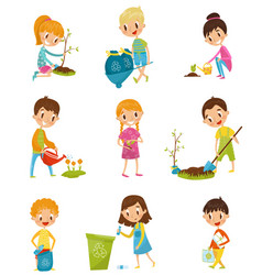 cute kids gardening and picking up garbage set vector image