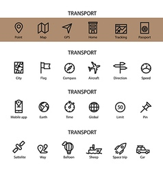 Different line style icons set Transport vector image vector image