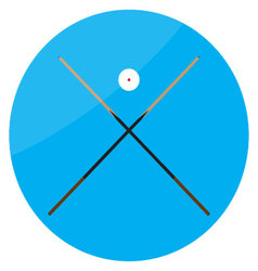 Icon billiard cue crossed and white ball vector image vector image