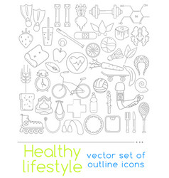 icons of healthy food and sport vector image vector image