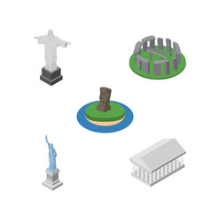 isometric architecture set of rio chile new york vector image