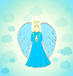 Praying Angel in Blue Sky vector image