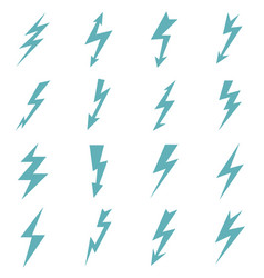 set of blue color lightnings vector image vector image