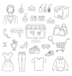 set of hand drawn online shopping icons vector image