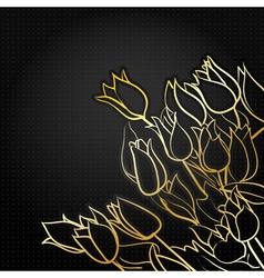 tulips on black vector image vector image