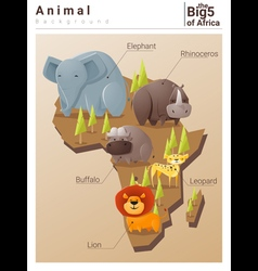 Wild african animal background big five 2 vector
