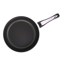 black metal frying pan isolated on a white vector image vector image