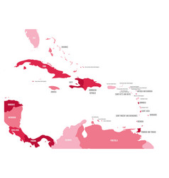 central america and caribbean states political map vector image vector image