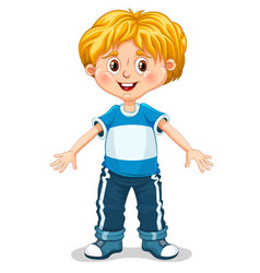 Cute little boy is doing exercises vector image