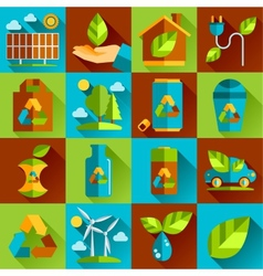 Ecology and waste flat icons set of trash vector image
