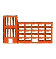 orange city school building line sticker vector image