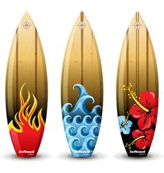 Wooden surf boards vector