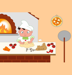 young pizza maker vector image