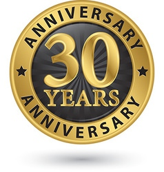 30 years anniversary gold label vector