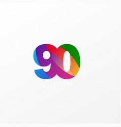 90 years anniversary celebration elegant color vector